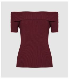 Reiss Matilda - Bardot Bodycon Top in Berry, Womens, Size XXL