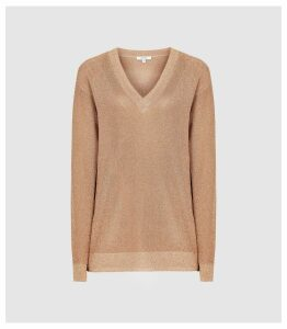 Reiss Effie - Metallic V-neck Jumper in Rose Gold, Womens, Size XXL