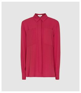 Reiss Aislin - Twin Pocket Shirt in Magenta, Womens, Size 16