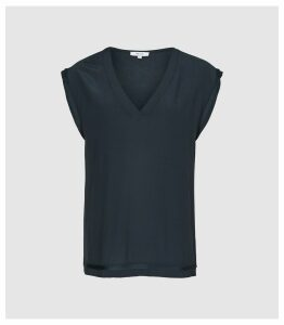Reiss Lexi - Woven Front V-neck T-shirt in Navy, Womens, Size XL