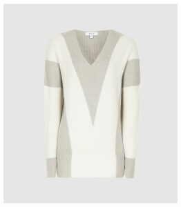 Reiss Erica - Chevron Patterned Jumper in Neutral, Womens, Size XXL