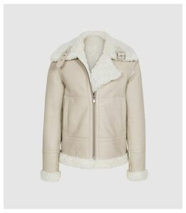 Reiss Clarice - Reversible Curly Shearling Jacket in Cream, Womens, Size XL