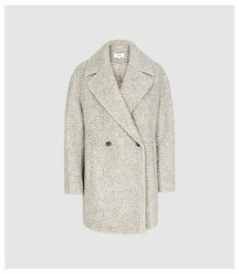 Reiss Scarlet - Wool Blend Teddy Coat in Grey, Womens, Size 14