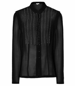 Reiss Suzanne - Pearl Embellished Blouse in Black, Womens, Size 14