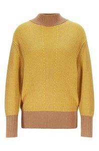 Relaxed-fit sweater with mock neck and contrast trims