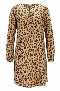 Long-sleeved tunic dress in printed twill with silk