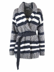 Brunello Cucinelli Virgin Wool, Cashmere, Mohair And Alpaca Mix Stripes Cardigan