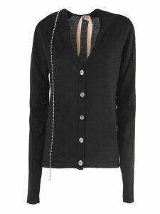 N.21 Black Wool-silk Blend Fitted Cardigan