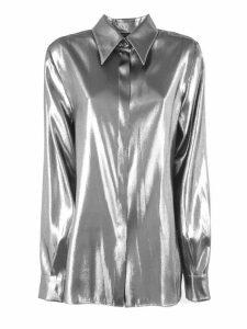 Alberta Ferretti Silver-tone Laminated Silk Blend Shirt