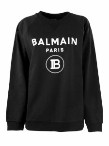 Balmain Black And White Cotton Sweatshirt