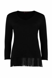 Max Mara Studio Polder Leather Fringes Knit Sweater