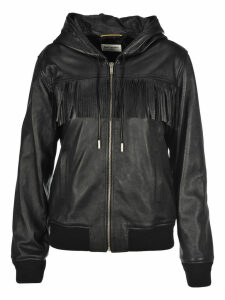 Saint Laurent Shiny Lambskin Fringed Hoodie Jacket