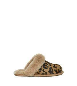 UGG Women's Scuffette II Leopard Slipper in Amphora Brown, Size 8, Leather