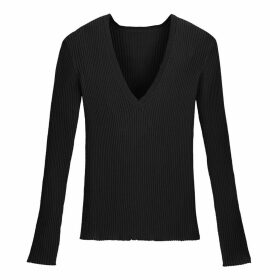 Skinny Ribbed V-Neck Jumper