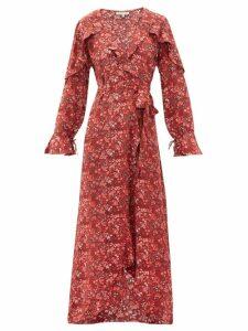 D'ascoli - Leela Floral Print Silk Wrap Dress - Womens - Red Print