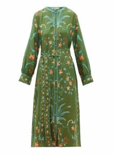 D'ascoli - Jahan Floral Print Tie Waist Silk Dress - Womens - Green Multi