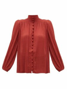 Zimmermann - Espionage Swiss-dot Plissé-chiffon Blouse - Womens - Red