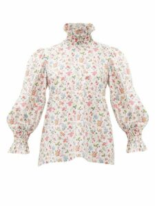 Horror Vacui - Collia Floral-print Smocked Cotton Top - Womens - White Multi
