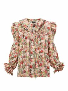 Horror Vacui - Defensia Floral Print Smocked Cotton Blouse - Womens - Red Multi