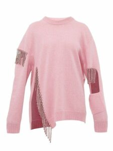 Christopher Kane - Crystal Fringed Wool Sweater - Womens - Light Pink