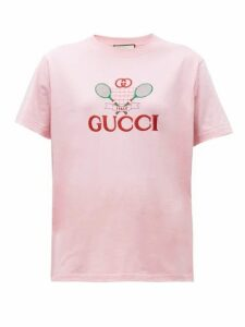Gucci - GG Logo-embroidered Cotton T-shirt - Womens - Pink Multi