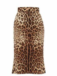 Dolce & Gabbana - Leopard-print Charmeuse Pencil Skirt - Womens - Leopard
