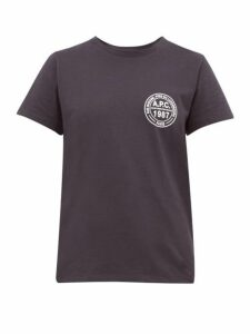 A.p.c. - Logo-roundel Cotton-jersey T-shirt - Womens - Navy