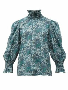 Horror Vacui - Collia Smocked Floral-print Cotton Blouse - Womens - Dark Green Multi