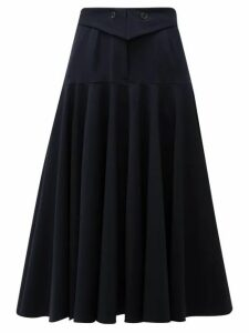 Palmer//harding - Fused Waist Wool-blend Midi Skirt - Womens - Navy