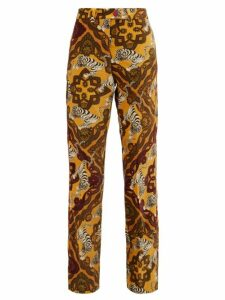 F.r.s - For Restless Sleepers - Zelos Tiger-print Cotton-velvet Trousers - Womens - Yellow Multi