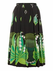 Valentino - Lily Of The Valley-print Pleated Silk Skirt - Womens - Black Multi
