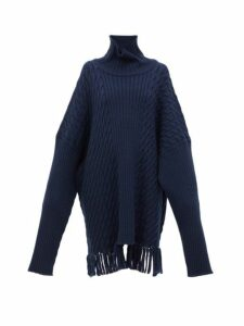 Vetements - Scarf Roll Neck Wool Sweater - Womens - Navy