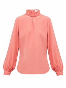 Cefinn - Gathered High Neck Silk Crepe De Chine Blouse - Womens - Pink