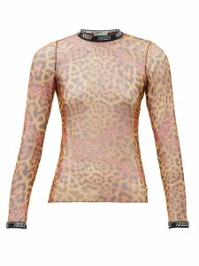 Aries - Printed Mesh Long-sleeved Top - Womens - Leopard