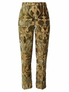 F.r.s - For Restless Sleepers - Tartaro Devoré Velvet Trousers - Womens - Green Multi
