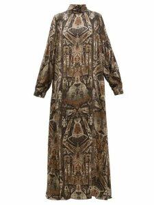 Edward Crutchley - Raja-print Long-sleeved Silk Maxi Dress - Womens - Brown Multi