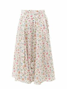 Horror Vacui - Sophie Floral Print Cotton Midi Skirt - Womens - White Multi