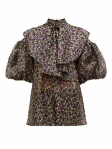 Romance Was Born - Dream Factory Floral-print Organza Blouse - Womens - Black Multi