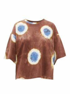 Sea - Tie-dye Cropped Cotton-jersey T-shirt - Womens - Brown Multi