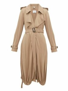 Burberry - Drawstring-hem Jersey Trench Coat - Womens - Beige