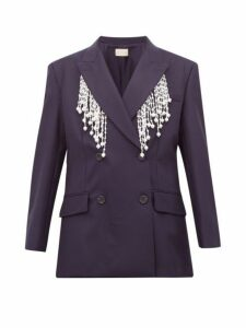 Christopher Kane - Faux Pearl Fringed Double Breasted Wool Blazer - Womens - Navy