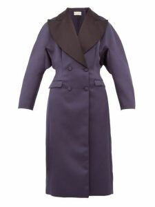 Christopher Kane - Oversized Double Breasted Satin Coat - Womens - Navy
