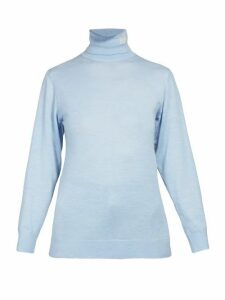 Loewe - Logo Embroidered Roll Neck Cashmere Sweater - Womens - Light Blue