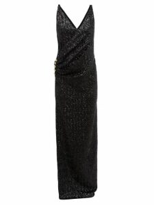 Balmain - Sequinned Wrap Effect Gown - Womens - Black