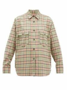 Isabel Marant Étoile - Idaho Checked Cotton Shirt - Womens - Light Green