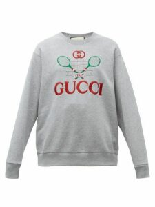 Gucci - Tennis Logo-embroidered Cotton Sweatshirt - Womens - Grey Multi