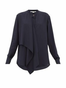 Stella Mccartney - Draped-front Silk Blouse - Womens - Navy