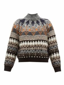 Stella Mccartney - Fair Isle Knit Wool Blend Sweater - Womens - Grey Multi