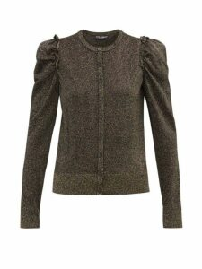 Dolce & Gabbana - Frilled-trimmed Lurex Cardigan - Womens - Black Gold