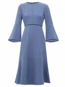 Cefinn - Flared Sleeve Slubbed Gauze Dress - Womens - Light Blue